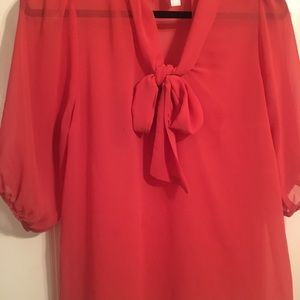 Coral chiffon blouse with bow